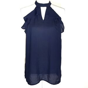 New York & Company Sleeveless Navy Blouse Top